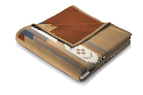 Biederlack Wohn- und Kuscheldecke, 60 % Baumwolle, Veloursband-Einfassung, 150 x 200 cm, Braun, Orion Cotton Montana, 646309