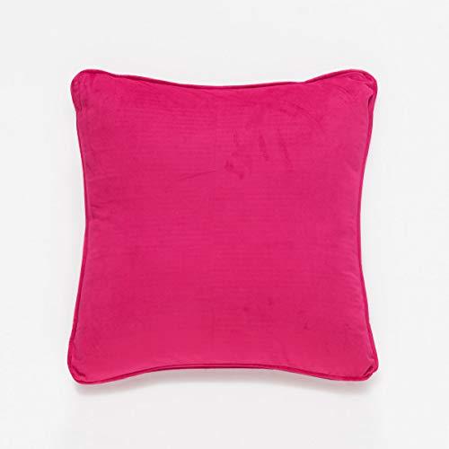 Sancarlos ALMA -Cojín liso tacto Terciopelo, 100% Poliéster, Color Fucsia, Tamaño 45x45 cm
