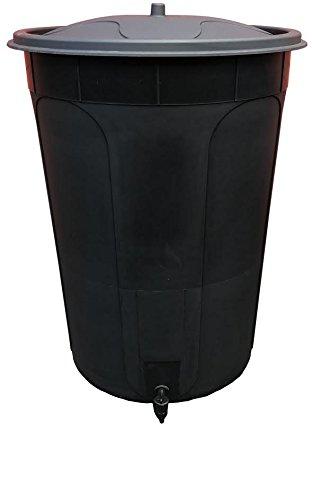 Keto Plastics 210L BLACK WATERBUTT, WATER BUTT WITH TAP & LID
