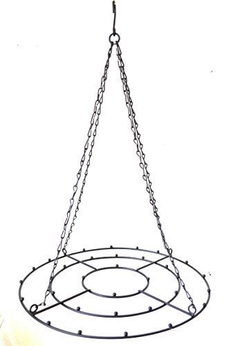 Deckenkranz rund zum Hängen mit Kette schwarz Metall ca. 33cm D.Korb Küchenhänger Dekohänger Hänge-Kranz Kräuterkrone Fensterdeko