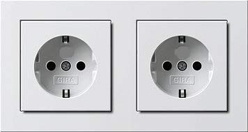 -GIRA Serie E2 Komplett-Sets - reinweiß MATT (2X Steckdose, 1x Rahmen 2fach)
