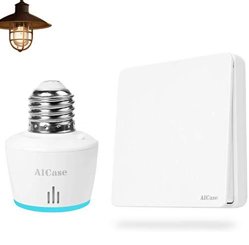 AICase Interruptores Inteligentes de pared/Interruptor Inalámbrico, Puede colocarse en la Pared o como Control Remoto portátil,Sin batería Sin Cables No se Requiere Wi-Fi