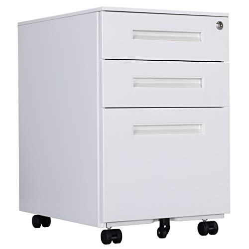 Aktenschränke, Büro-Rollcontainer,Rollcontainer, inkl. 3 Schübe Bürocontainer mit Anti-umkippen-mechanismus für A4, Mobilen, Abschließbar ; 39cm B x 50cm L x 60cm H, JLB021-W
