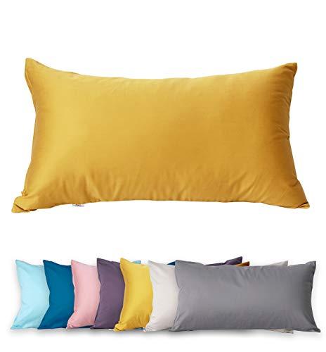 Funda de almohada de 40 x 80 cm, 400 hilos, 100% algodón, muy suave, calidad prémium, funda de almohada egipcia, funda de almohada extra larga (Citurs Yellow 40 x 80 cm)