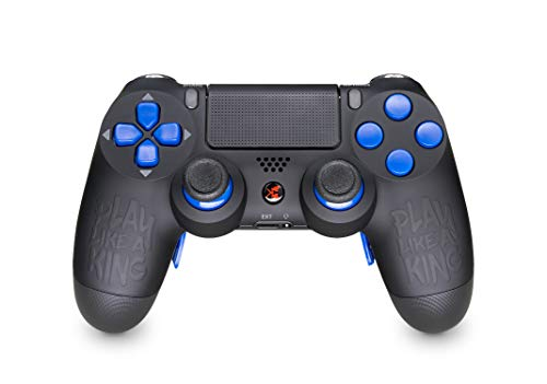 KING CONTROLLER® PS4 Controller mit Curved Paddles Custom Design Play Like a King (schwarz, blau, matt) - DualShock 4 - PlayStation 4 Pro Slim - Wireless PS4-Controller