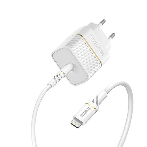 OtterBox Pack chargeur secteur universel USB C (3A/18W) + Cable renforcé USB C-Lightning 1M Blanc