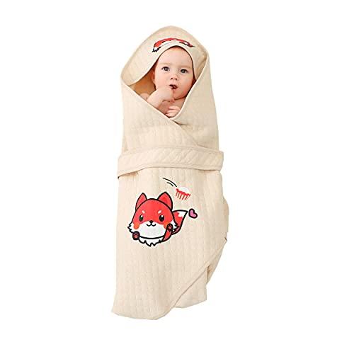 Alcea Rosea Manta para bebé recién nacido, unisex, con estampado de tigre, portátil, de algodón orgánico, saco de dormir para bebé (Fox)