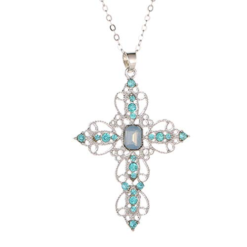 Faruodis Cute Cross Bohemian Pendant Necklace Celtic Crystal Hollow Geometry Chain Jewelry for Women and Girls (Blue)