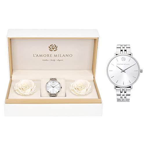 Damen Uhr Giulia Silber 36mm Gliederarmband Rosenbox langlebige Infinity Rosen Edelstahl Armbanduhr Frauen Geschenkset Schmuckset