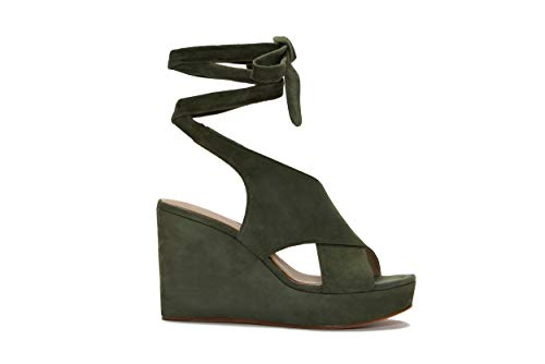 Etienne Aigner Dominica Platform Leather Wedge in Fatigue