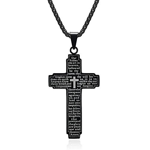 Biblia de acero inoxidable VERSO CRISTO CRISTO DE ORO CRISTAL COLVANTE RELACIONAL COLLAR DE JOYERÍA PARA ELLA CON CADENA-Negro