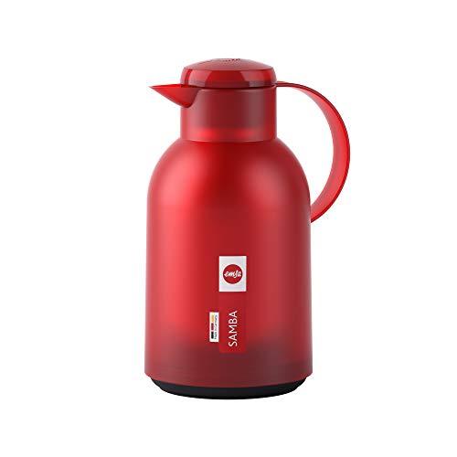 Emsa N4011700 Samba Isolierkanne (1,5 Liter, Quick Press Verschluss, 12h heiß und 24h kalt) Transluzent/Rot