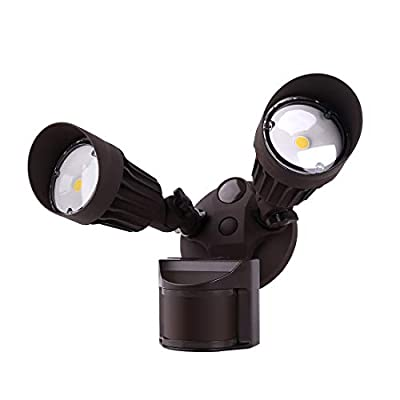 JJC LED Security Lights Motion Sensor Flood Light Outdoor,20W(120W Equiv.)2000LM,IP65 Waterproof,5000K Daylight White DLC & ETL Listed Outdoor Lighting Brown