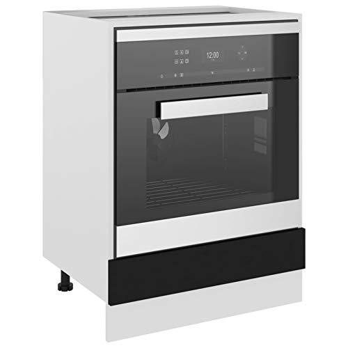 Tidyard Armario de Cocina Armario de Almacenamiento de Aglomerado Negro 60x46x81,5 cm