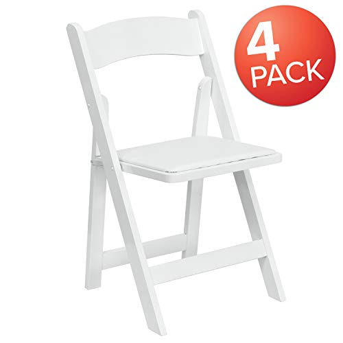Flash Furniture 4 Pk. HERCULES Series White Wood Folding Chair with Vinyl Padded Seat