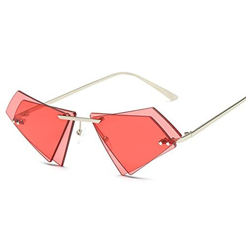 DAIDAICDK Metal Frameless Sunglasses Men Women Irregular Polygon Gradient Sunglasses Travel Outdoor Eyewear