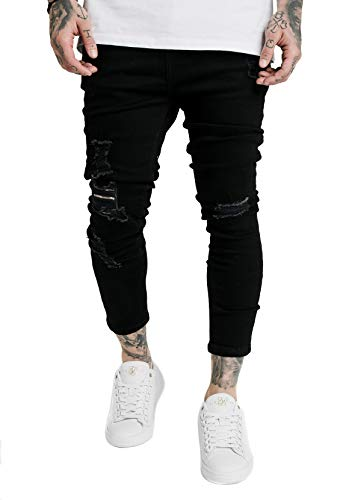 Sik Silk Herren Jeans Ultra Drop Crotch Denims SS-16976 Black, Größe:L