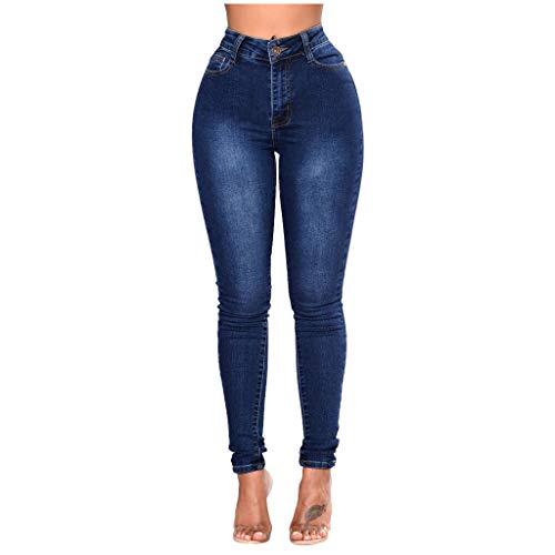 Pantalones vaqueros para mujer, cintura alta, de compresión de los años 80, elásticos, informales, de talla S, sexy, verano, anticelulitis Azul oscuro. M