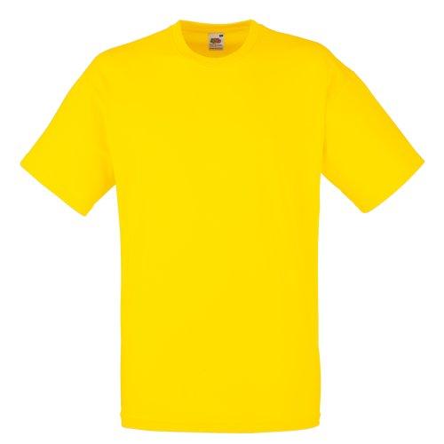 Fruit of the Loom - Camiseta Básica de Manga Corta Modelo Valueweight - Hombres (L/Amarillo)