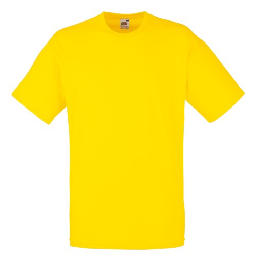 Fruit of the Loom - Camiseta Básica de Manga Corta Modelo Valueweight - Hombres (L/Amarillo)
