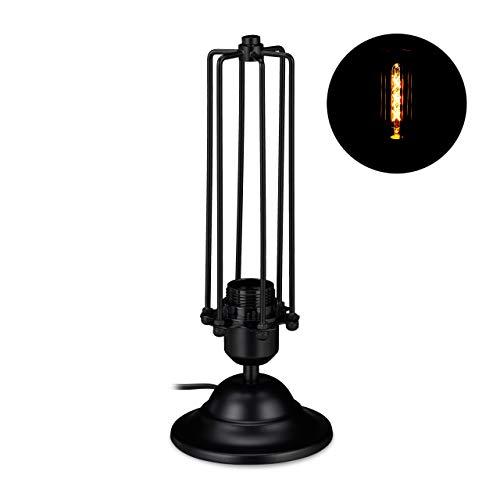 Relaxdays Tischlampe Industrial, schmale Nachttischlampe aus Metall, Vintage Design, E27-Fassung, 33 x 13 cm, schwarz