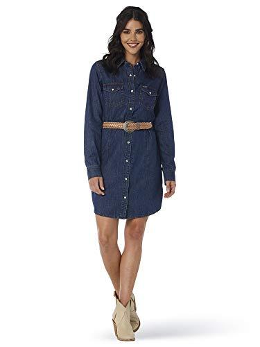 Wrangler Long Sleeve Western Denim Shirt Dress Vestidos de Tiempo Libre, Color Azul Vaquero Oscuro, S para...
