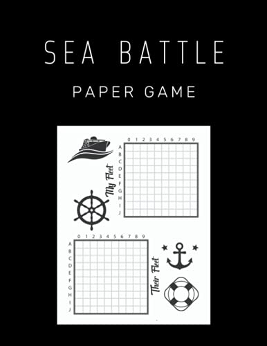 Sea Battle Paper Game: Battleship Classic Paper Game, Sea War, Fun Activity for Kids and Adults
