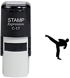 StampExpression - Karate High Kick Self Inking Rubber Stamp - Black Ink (A-6096)