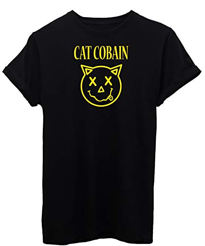 iMage T-Shirt Cat Cobain - Divertente - by Bambino-XL-Nera