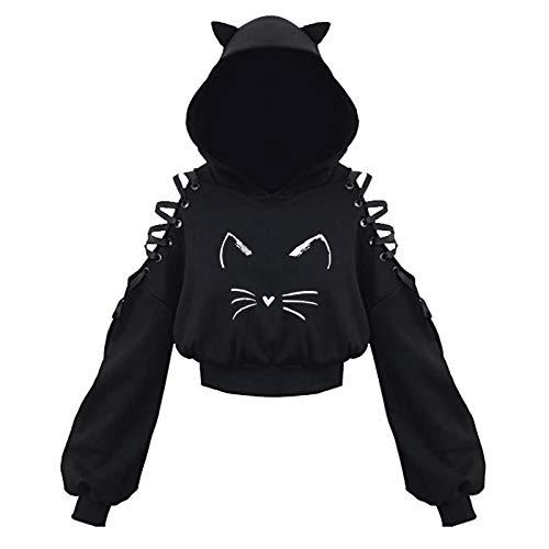 Chejarity Damen Cat Ears Black Hoodie Hollow Out Langarm Kapuzenpullover Bauchfrei Sweatshirt Gothic Oberteil T-Shirt Punk Schwarz Bluse Crop Tops (M, Schwarz F)