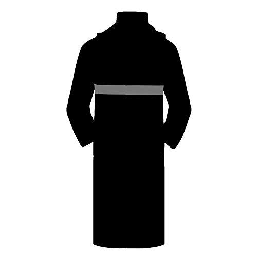 Langer Regenmantel Poncho Siamese Windbreaker Security Patrol Station Post Wasserdicht Wasserdicht Reflektierende Sicherheits Regenmantel Schwere Arbeitskleidung ( Farbe : Schwarz , Größe : XXL )