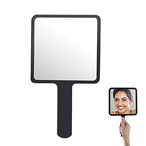COCOCITY Specchietto Portatile con Manico, 9 x 16cm Specchio per Trucco Professionale Quadrato per Salone Parrucchiere, Barbiere Nero