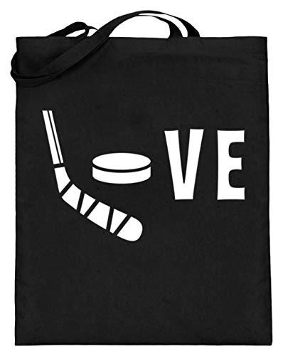 Chorchester Love für Hockey und Eishockey-Spieler - Jutebeutel (mit langen Henkeln) -38cm-42cm-Schwarz