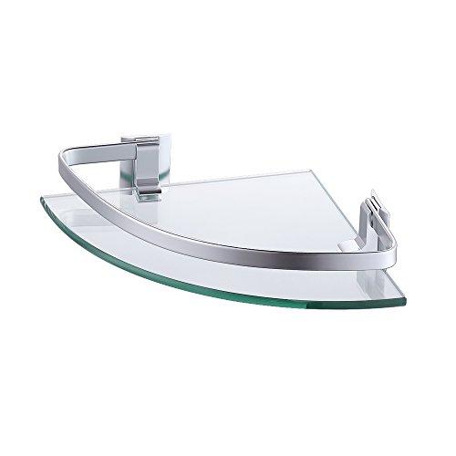 KES Eckregal Glasregal Duschablage Bad Badablage Glas 8 mm Dusche Glas Ablage Glasregal Badezimmer Ecke Wandmontage Aluminium Silber, A4120A