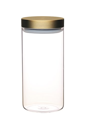 masterclass Vorratsbehälter Master Class 1,5Liter mit Messingdeckel aus Glas in transparent, 25 x 25 cm