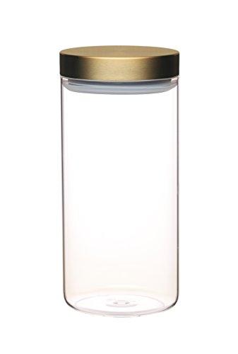 Master Class–Tapa de cristal tarro de almacenamiento de alimentos con tapa de latón, vidrio, Transparente, Large (1.5 L)