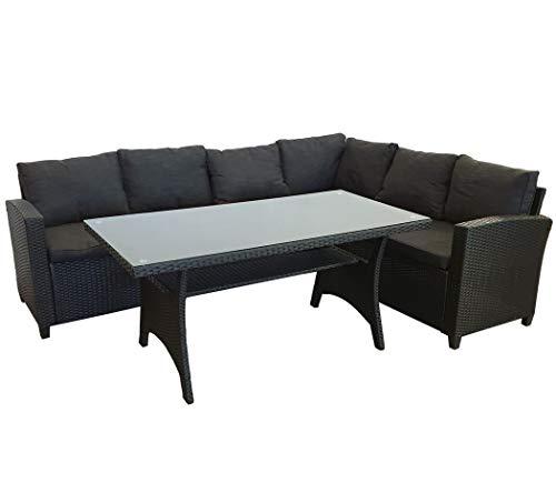 KMH®, große Schwarze Polyrattan Gartensitzgruppe Lounge Esstisch Sofa Hannover inklusive Auflagen und Kissen (#106116)