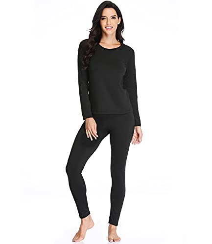 JZCreater Women Thermal Underwear Set Tight, Base Layer Top & Bottom Long John Set (Black,L)
