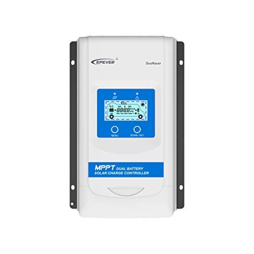 EPEVER® MPPT DuoRacer DR2210N - Regulador de carga solar (20 A, para 2 pilas, 12 V/24 V, PV 100 V)