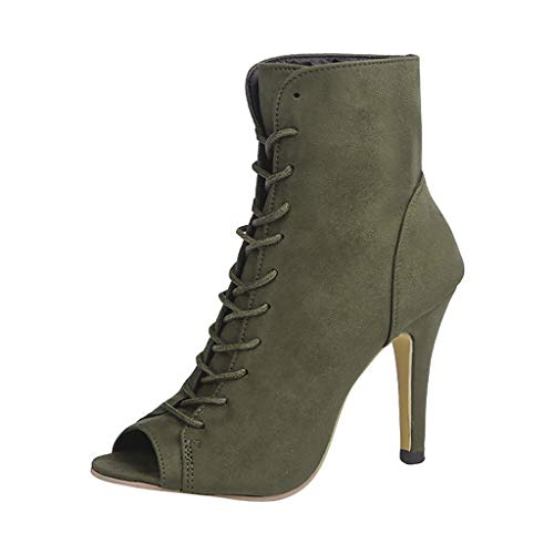 Adjustable Band Lace Up Low Stacked,CrazyloverWomen's Comfortable Shoes Stylish Open Toe Cut Out Heeled Sandal Bootie Green