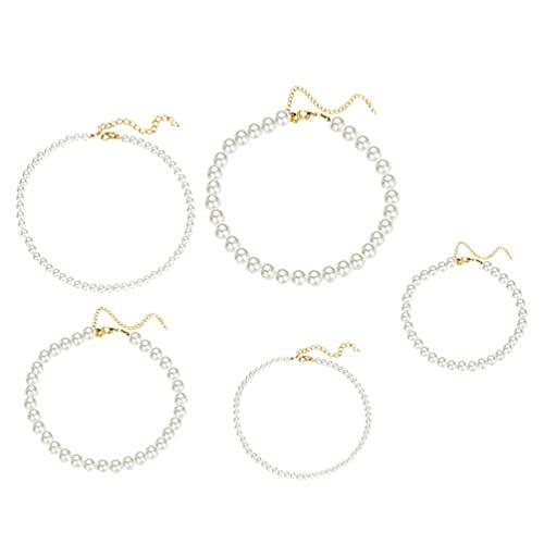 Generic 5 Piezas de Collar de Perlas Falsas Conjunto de Collar de Perlas Simuladas Collar de Perlas de Hilo Joyería para La Ropa de Boda Accesorios de Fiesta de Disfraces de Gatsby