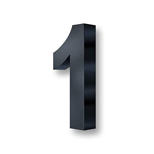 Metzler 3D Hausnummer in Anthrazit aus Stahl - Hausnummer mit Pulverbeschichtung in Feinstruktur 7016 Anthrazitgrau matt - Höhe 20cm / Tiefe 3,5 cm - inkl. Montagematerial - Ziffer 1