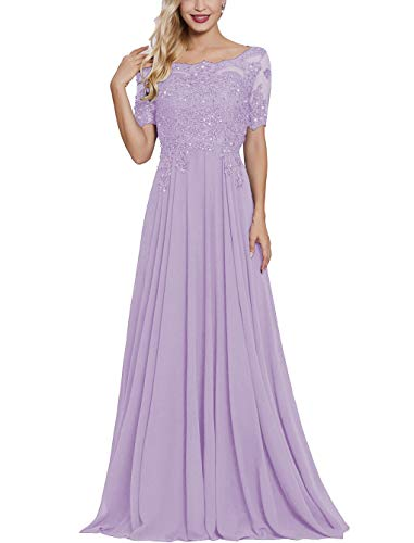 Lace Applique Mother of The Bride Dresses Long with Sleeves Bateau Neck Maxi Formal Evening Dress Lavender