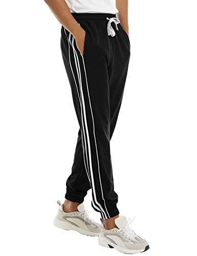 Hawiton Pantaloni Sportivi da Uomo, Pantaloni Casual da Allenamento 100% Cotone, Pantaloni con Riga Laterale, per la Corsa, Fitness,Noir,S