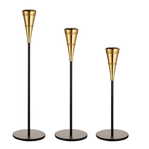 ENJINKAIL - Portacandele conico nero e oro, set di 3 candelieri decorativi per eventi formali, matrimoni, chiesa, autunno, decorazioni per feste, centrotavola