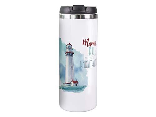 GRAZDesign Thermobecher Kaffeebecher weiß Mama Heimathafen, Geschenk für Mama, Coffee to go Becher, Isolierte Thermo-Tasse, Weihnachten Geburtstag Muttertag