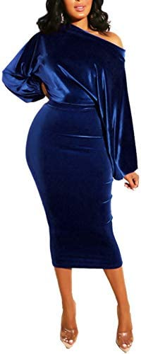 Salimdy Womens One Off Shoulder Midi Dress Long Sleeve Velvet Sexy Bodycon Party Pencil Dress product image