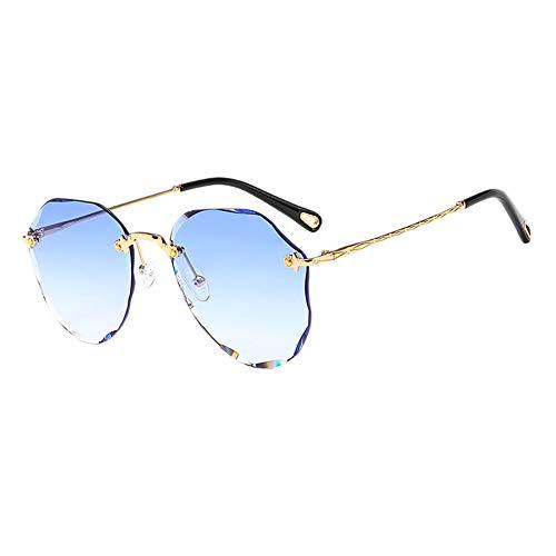 MSYOU Klassische Sonnenbrille mit geschliffenem Rand, Farbverlauf, Metall, Polygon-Stil, Sonnenbrille für Damen und Mädchen, Outdoor, Urlaub, Reiten, Anti-UV-Blendung, Brille (hellblau)