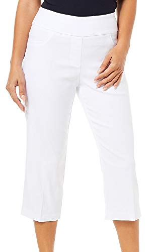 Ruby Road Favorites Womens Solid Pull On Capris 14 White