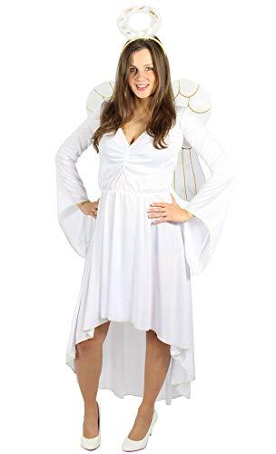 weißes Engelskostüm für Damen mit Flügeln und Heiligenschein für Fasching Karneval Krippenspiel Größe XXL